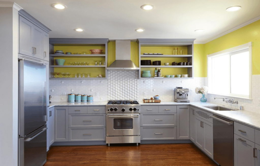 kitchen cabinets with open shelves