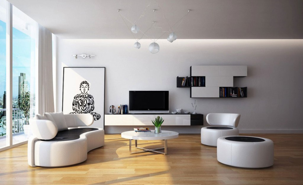Minimalist living room interior design ideas homedizz for Living room minimalist modern