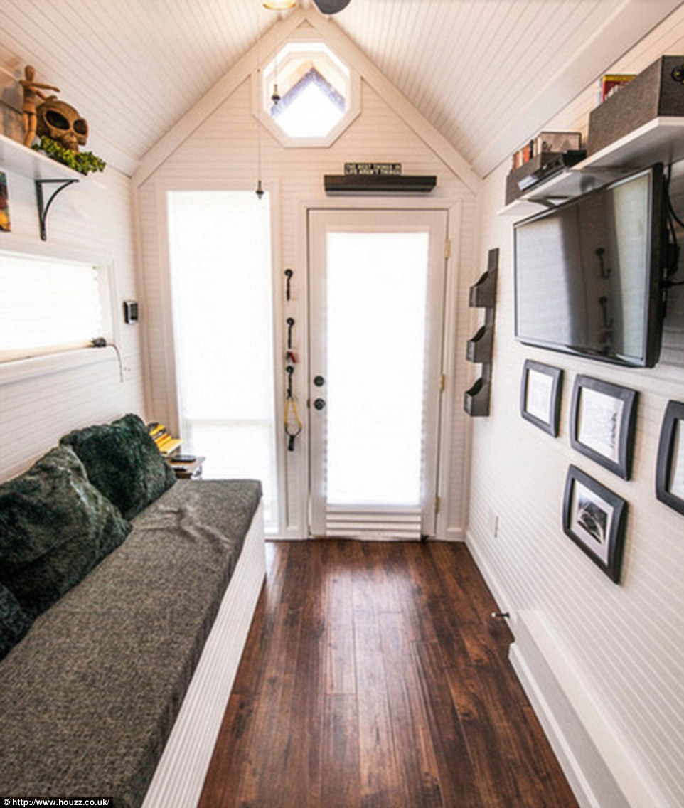 'Light colors and window placement are very important as well as the high ceiling when you walk in,' explains the designer fromTennessee-based Tiny Happy Homes, which creates custom-made homes