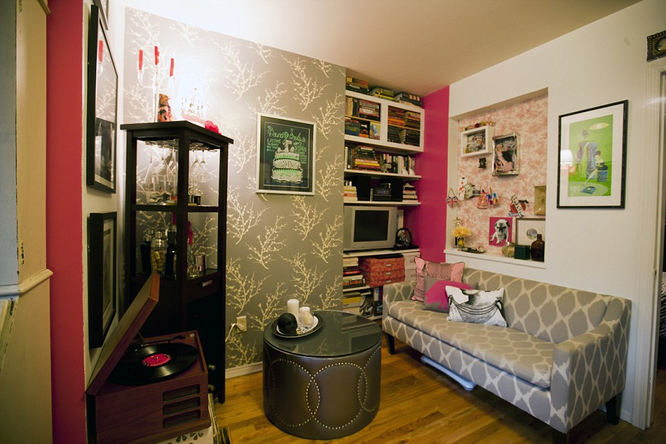 When the sleeping and living areas in the Queens, New York, studio apartment can easily merge to one, Jeanie advises using paint, wallpaper and color to designate distinct areas