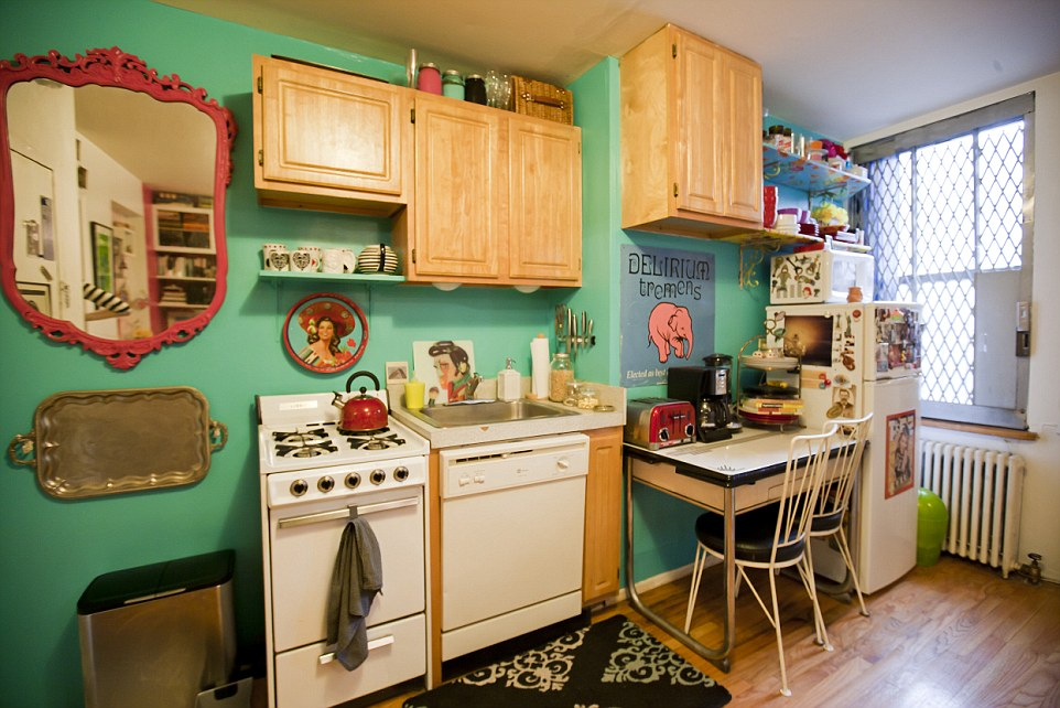 The apartment has a door-less bedroom, efficiency kitchen and small lavatory and is full of vibrancy and quirky touches, like the tray (left) which doubles as wall art to save on storage(pictured: Queens, New York, studio apartment)
