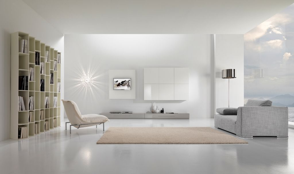 White minimalist living room homedizz for Living room minimalist modern