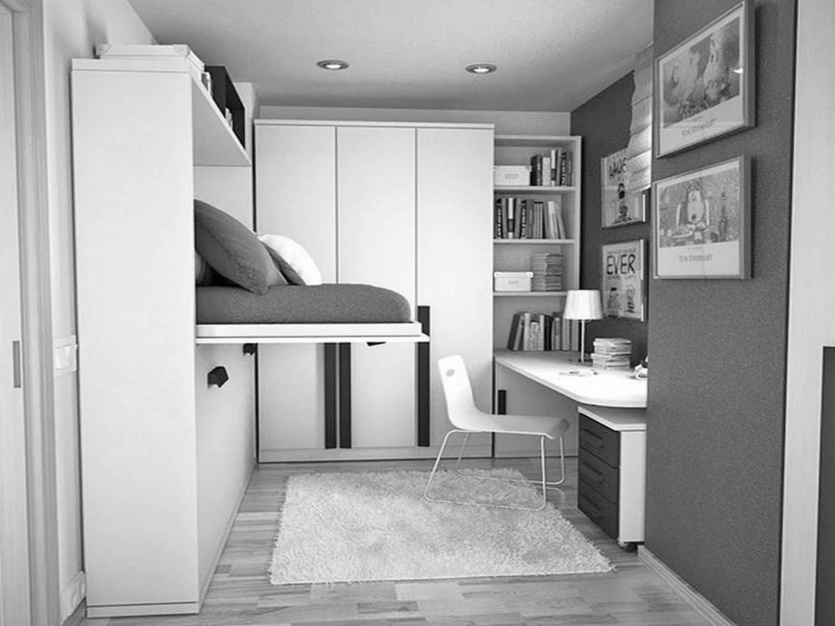 elegant well organized tiny room equipped by the modern classy furniture and built in wardrobes and bookshelves with small study area