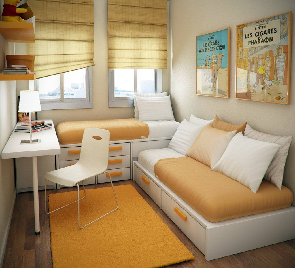 minimalist bedroom for 2 teens with study area and great space saving storages