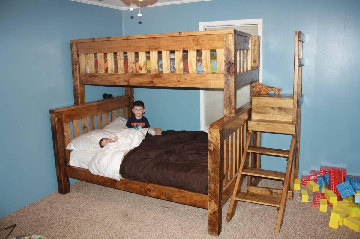 terrific teak wood bunk bed for 3 children