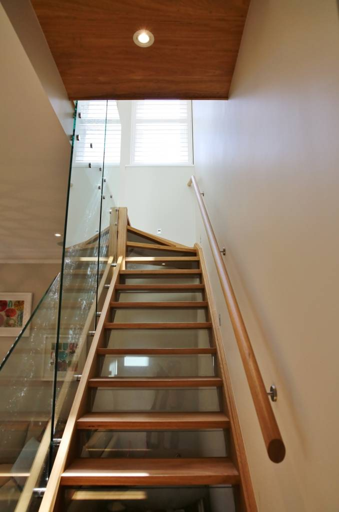 Stairs concept with glass and wood