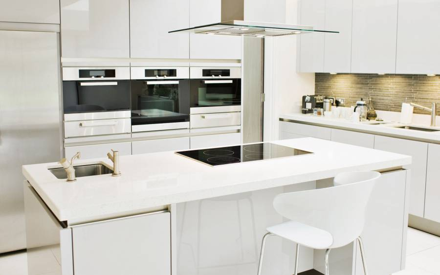 25 - Excellent White Color Room of Small Kitchen Ideas with Electric Kitchen and Sink on Kitchen Island Furnished with High Chairs and Completed with Ovens on Wall Cupboard