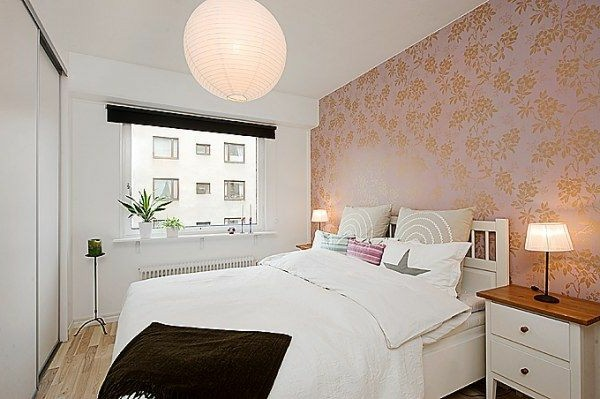 Bedrooms in Scandinavian style make interesting Tape tablets with floral motifs paper chandelier