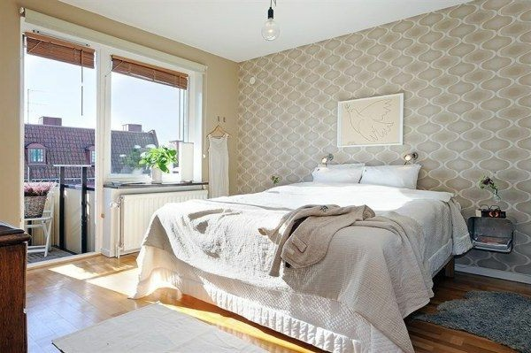 Designed bedrooms in a Scandinavian style double bed popular tablets Tape image mitVogel of Friedesns on the wall
