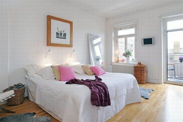 Designed bedrooms in a Scandinavian style full size bed with boxes mirror rates Baskets