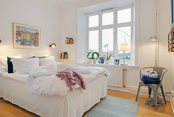 Designed bedrooms in a Scandinavian style simple furniture