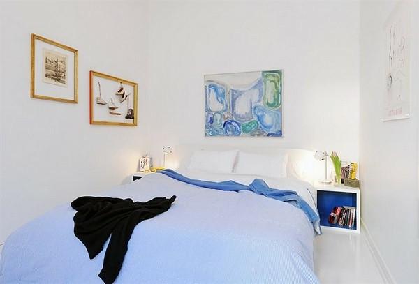 Make Bedroom in Scandinavian Style Sky Blue Duvet many images Basket
