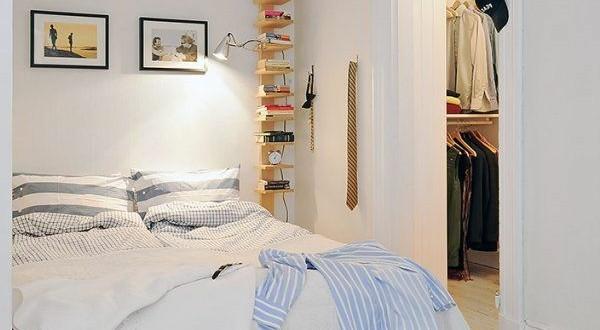 Make bedroom White walls convenient shelf and reading light