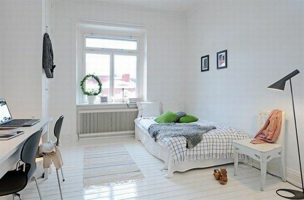 Make white bedroom Scandinavian style window size desk chair next to the bed