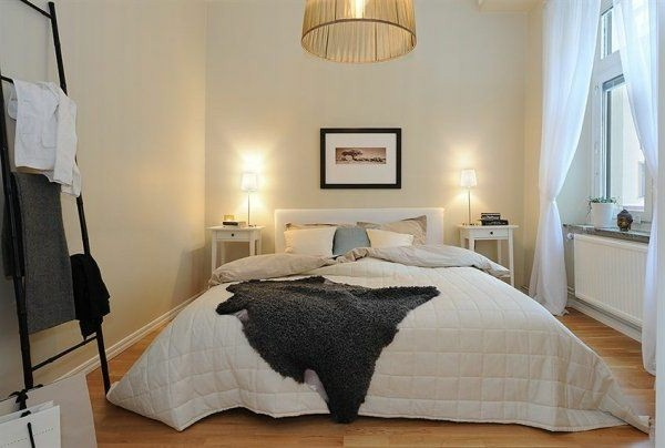 Designed bedrooms in a Scandinavian style bed in the center