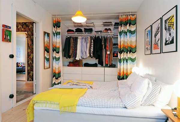 Designed bedrooms in a Scandinavian style colorful curtains in dresses