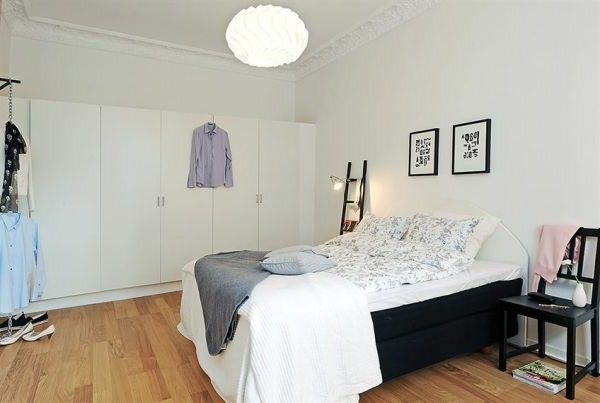 Bedrooms in Scandinavian style make bigger wardrobe