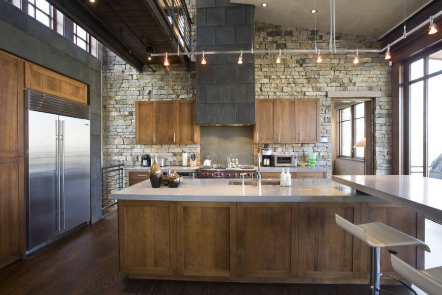 44 - Splendid design contemporary kitchen ideas brown wooden kitchen island white granite countertop double bowl sink track lighting brown wooden kitchen cabinets