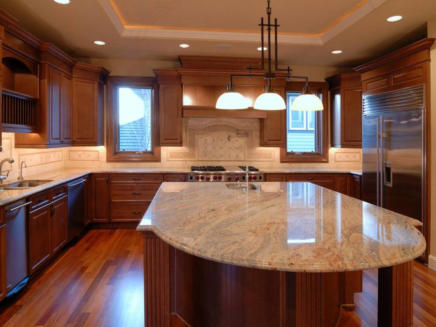 73 - Splendid design modern kitchen with island brown wooden kitchen island brown wooden kitchen storage cabinets beige color marble countertops double bowl kitchen sink