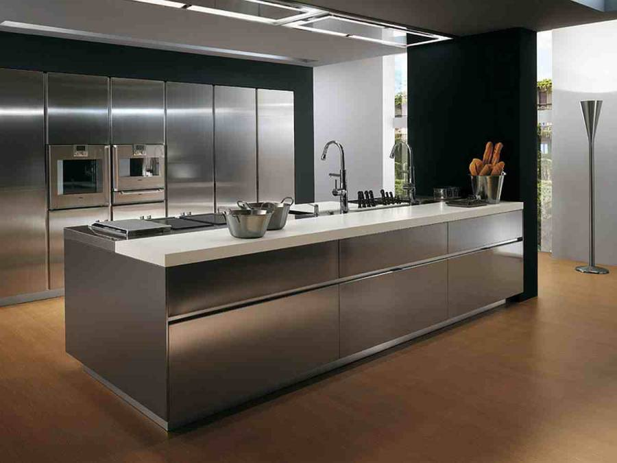 18 excellent ideas of contemporary kitchen with sink built for Stainless steel kitchen designs