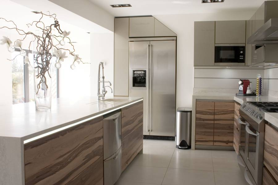 8 - Elegant meet contemporary kitchen design interior inspiration featuring silver accentuate kitchen furniture with stainless countertops