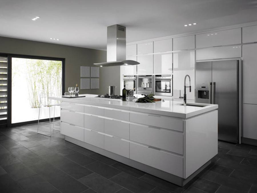 87 - Awesome grey kitchen ideas with modern kitchen island with granite countertops and kitchen sink with faucet and hood range and refrigerator and oven