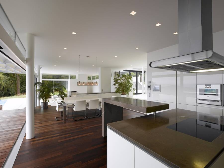 modern design for kitchen contemporary kitchen with hardwood floors open to dining 7608