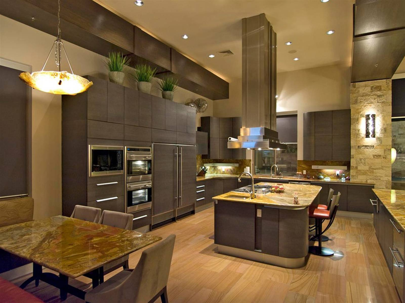 Contemporary Kitchen With High Ceilings Light Wood Floors And Dark Cabinets