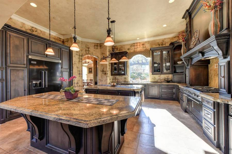 Some Words About Kitchens With Beige Granite Counters Travertine Tile Floors And Rich Wood
