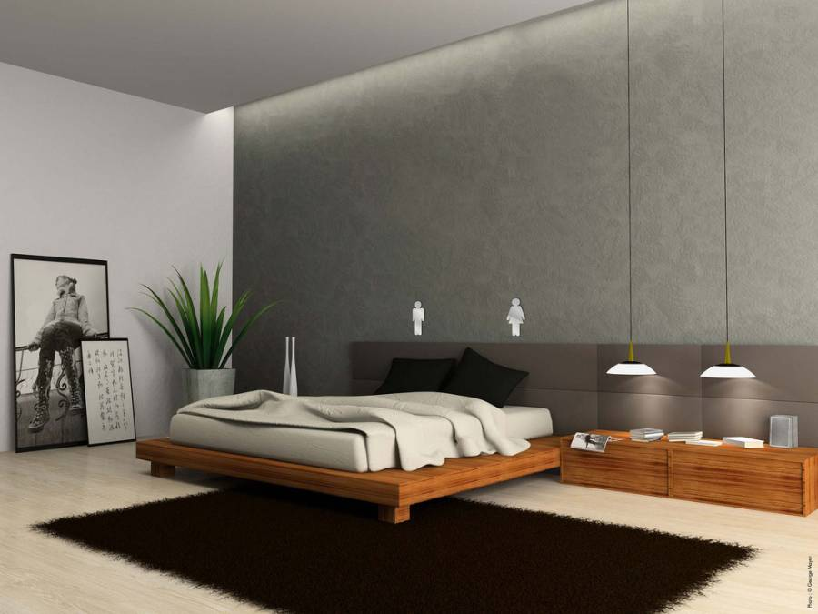 16 ideas of modern furniture for minimalist bedroom decor for Mural art designs for bedroom