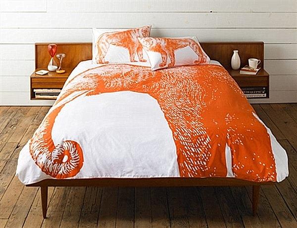 autumnal bed linen designs idea orange elephant pattern