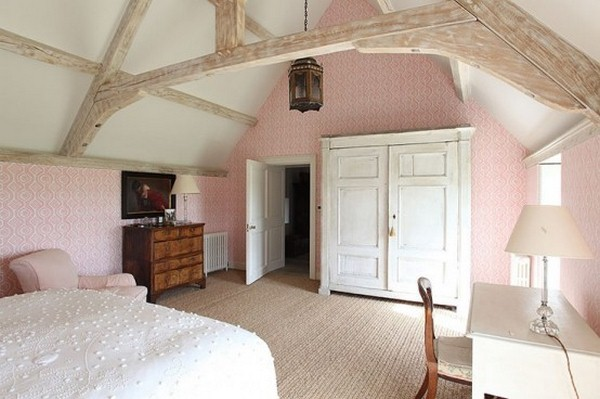 bed bedroom barn style pink wallpaper