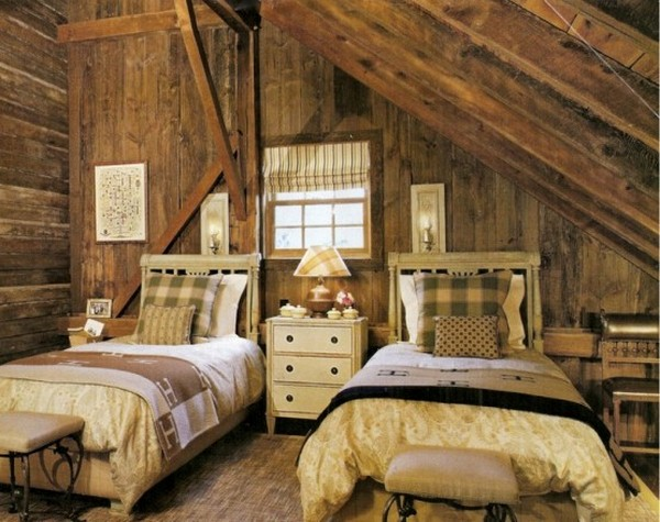 two bed room in an attic roof