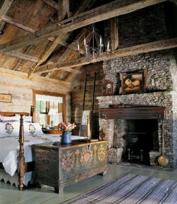 vintage furniture stone fireplace