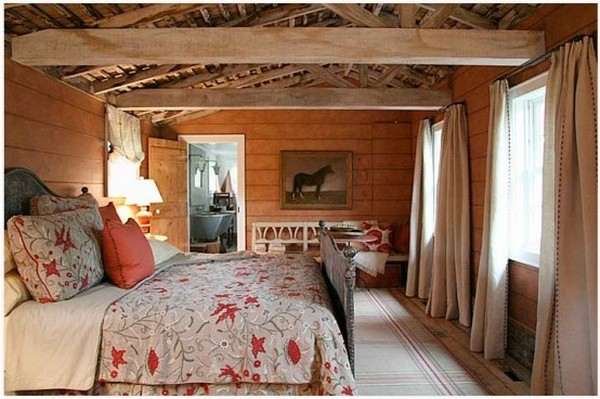 bed bedroom barn style rustic Elements