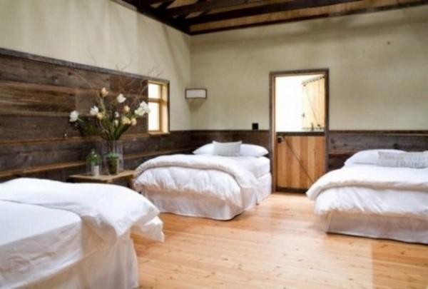 bed bedroom floor wooden barn style
