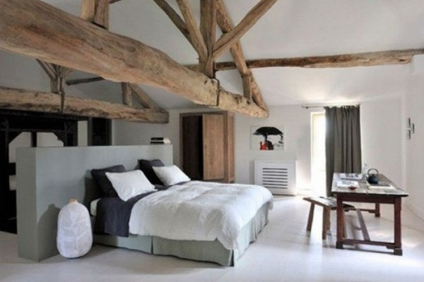 Bed White Bedroom Natural Wood Beams