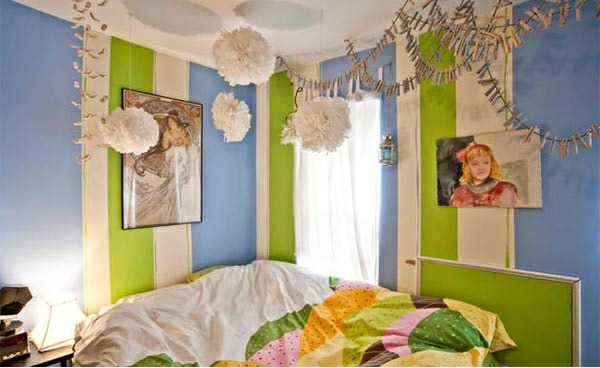 bedroom colors ideas wall design stripe pattern blue and green