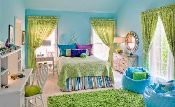 blue curtains bedroom colors ideas wanndfarbe bright green textiles