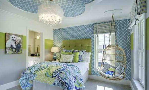 bedroom colors ideas blue green patterned wallpaper