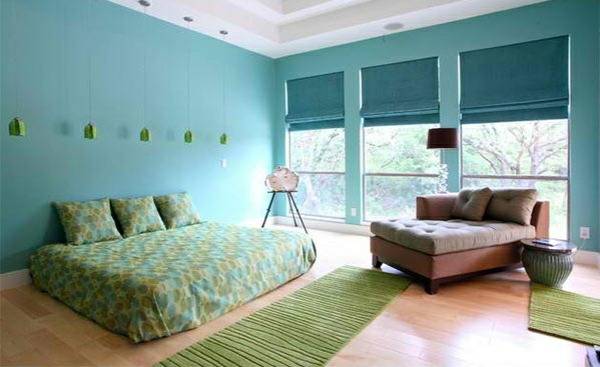 bedroom colors ideas wall color blue linen runner green