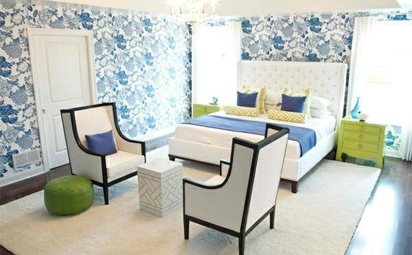 bedroom color ideas blue white green patterned wall