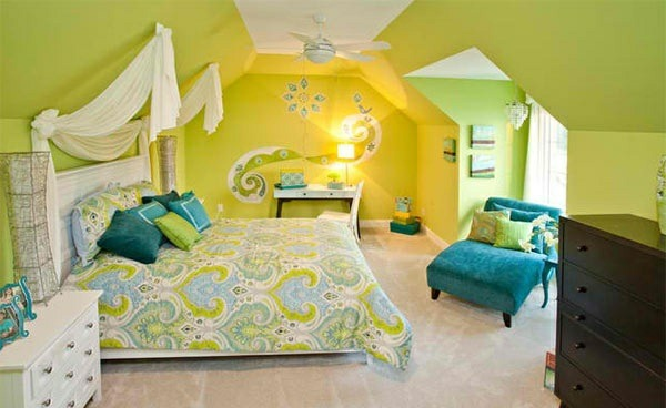 bedroom colors ideas garish bright colors blue green wall design ideas