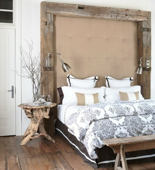 rustic bedroom furniture bed bedside table headboard