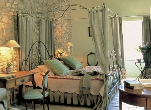 romantic bedroom cottage style stone wall