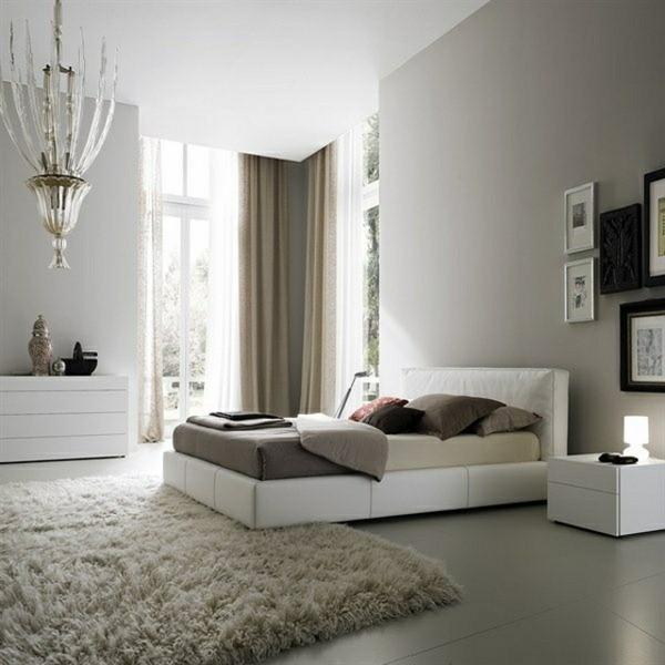 Leather bed futuristic modern pendant light gray wall