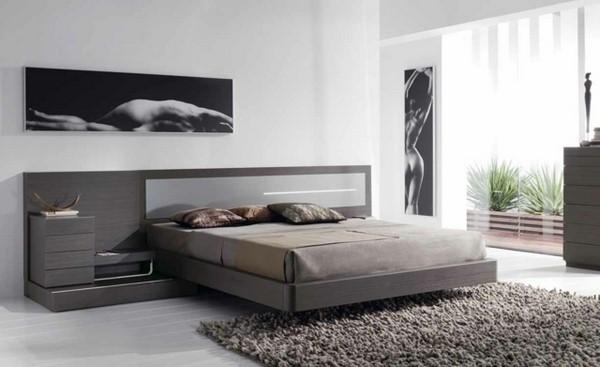 Bed gray shaggy carpet wood headboard modern paintings wall