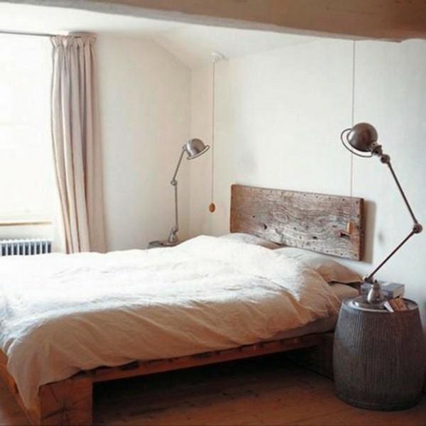 bed headboard mattress bedside lamps wood board vessels