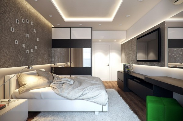 White green bedroom design