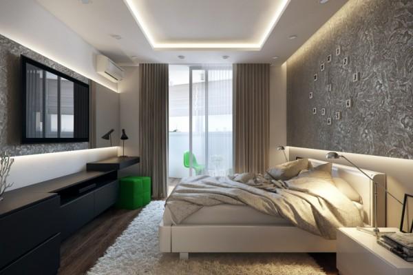 White green black bedroom